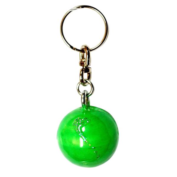 Green-fluo-silver-miniball-key-ring-00566