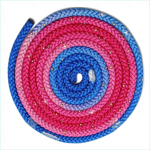 Скакалка 3м Pastorelli Crystal цвет Синий-Фуксия-Розовый FIG Артикул 02723